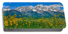 Portable Battery Charger featuring the photograph Teton Peaks And Flowers by Greg Norrell