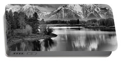 Tetons In Black And White Portable Battery Charger