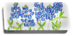 Texas Bluebonnets Watercolor Painting By Kmcelwaine Portable Battery Charger