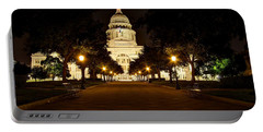 Texas Capitol At Night Portable Battery Charger by Dave Files