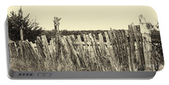 Texas Fence In Sepia Portable Battery Charger