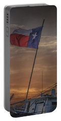 Texas Flag Flying From A Fishing Boat At Sunrise Portable Battery Charger