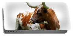Texas Longhorn Bull Portable Battery Charger by Charles Beeler