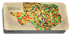 Texas Map Crystalized Counties On Worn Canvas By Design Turnpike Portable Battery Charger