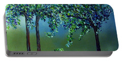 Portable Battery Charger featuring the painting Texture Trees by Eloise Schneider