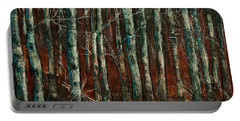 Portable Battery Charger featuring the painting Textured Birch Forest by Jani Freimann