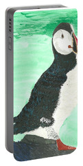 Portable Battery Charger featuring the painting That's Another Puffin Year Over by Tracey Williams