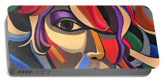 Colorful Abstract Woman Face Art, Acrylic Painting, 3d Illusion Portable Battery Charger