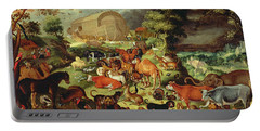 The Animals Entering The Ark Portable Battery Charger by Jacob II Savery