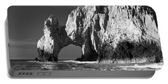 The Arch Cabo San Lucas In Black And White Portable Battery Charger by Sebastian Musial