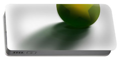 Portable Battery Charger featuring the digital art Green Ball Decorated With Star White Background by R Muirhead Art