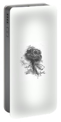 Portable Battery Charger featuring the drawing The Black Rose by Laurie L