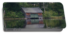 Portable Battery Charger featuring the photograph The Boat House On Mt Chocorua Lake by Denyse Duhaime