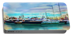 Portable Battery Charger featuring the painting The Boats Of Malaga Spain by Deborah Boyd