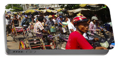Portable Battery Charger featuring the photograph The Bustling Traffic On 27th Street Zay Cho Street Market Mandalay Burma by Ralph A  Ledergerber-Photography