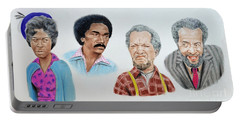 Portable Battery Charger featuring the mixed media The Cast Of Sanford And Son  by Jim Fitzpatrick