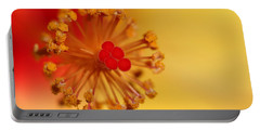Portable Battery Charger featuring the photograph The Center Of The Hibiscus Flower by Debbie Oppermann