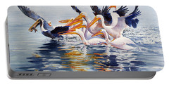 Portable Battery Charger featuring the painting The Chase Of The Outsider by Roger Rockefeller