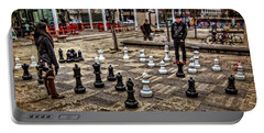 The Chess Match In Pdx Portable Battery Charger by Thom Zehrfeld