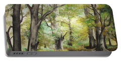 Portable Battery Charger featuring the painting The Clearing by Sorin Apostolescu