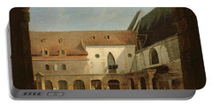 The Convent Courtyard Of Petits-augustins In Paris, C.1818 Oil On Canvas Portable Battery Charger