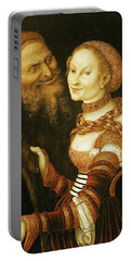 The Courtesan And The Old Man, C.1530 Oil On Canvas Portable Battery Charger