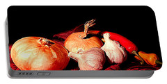New Orleans Onions, Garlic, Red Chili Pepper Used In Creole Cooking A Still Life Portable Battery Charger