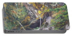 Portable Battery Charger featuring the painting The Crying Log by Lori Brackett