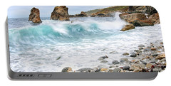 The Curl - Crashing Waves From Soberanes Point In Garrapata State Park Portable Battery Charger