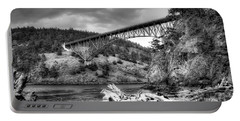 The Deception Pass Bridge II Bw Portable Battery Charger by David Patterson