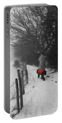 The Dog In The Red Coat Portable Battery Charger by Vicki Spindler