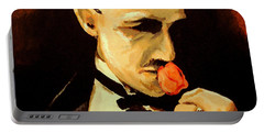 Portable Battery Charger featuring the painting The Don And The Rose by Dale Loos Jr