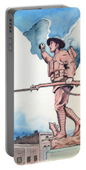 Portable Battery Charger featuring the painting The Doughboy Stands by Katherine Miller