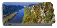 The Elbe Sandstone Mountains Along The Elbe River Portable Battery Charger