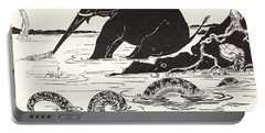 The Elephant's Child Having His Nose Pulled By The Crocodile Portable Battery Charger by Joseph Rudyard Kipling