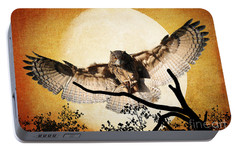 Portable Battery Charger featuring the photograph The Eurasian Eagle Owl And The Moon by Kathy Baccari