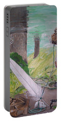 Portable Battery Charger featuring the painting The Feather And The Word La Pluma Y La Palabra by Lazaro Hurtado