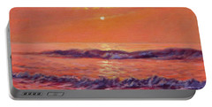 The First Day-sunrise On The Beach Portable Battery Charger