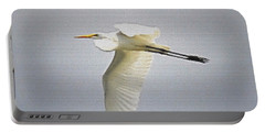 The Flight Of The Great Egret With The Stained Glass Look Portable Battery Charger by Verana Stark