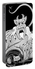 Portable Battery Charger featuring the digital art The Fox's Fiend  by Carol Jacobs