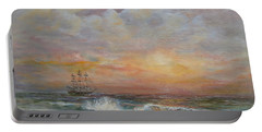 Portable Battery Charger featuring the painting Sunlit  Frigate by Luczay