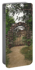 Portable Battery Charger featuring the digital art The Garden Gate by Jayne Wilson