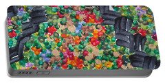 Portable Battery Charger featuring the painting The Garden Path by Michele Myers