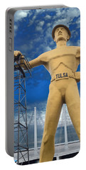 The Golden Driller - Tulsa Oklahoma Portable Battery Charger by Deena Stoddard