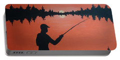 Portable Battery Charger featuring the painting The Golden Hour by Norm Starks