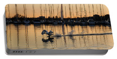 The Golden Takeoff - Swan Sunset And Yachts At A Marina In Toronto Canada Portable Battery Charger by Georgia Mizuleva