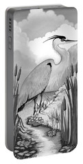 Portable Battery Charger featuring the digital art The Great Blue In Grey by Carol Jacobs