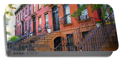 The Historic Brownstones Of Brooklyn Portable Battery Charger by Dora Sofia Caputo Photographic Art and Design