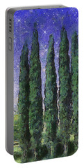Portable Battery Charger featuring the digital art The Hushed Poetry Of Trees In The Night by Wendy J St Christopher