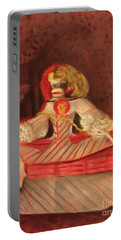 Portable Battery Charger featuring the painting The Infant Margarita by Randol Burns